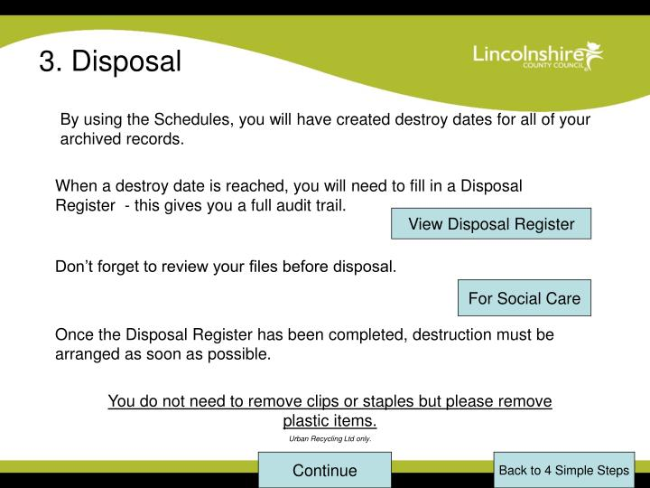 3. Disposal