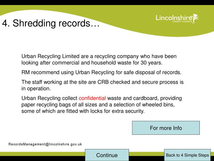 4. Shredding records…