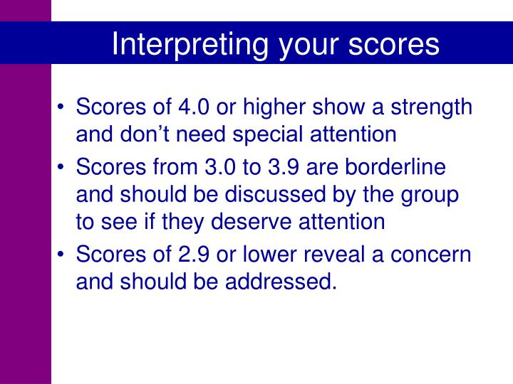 Interpreting your scores