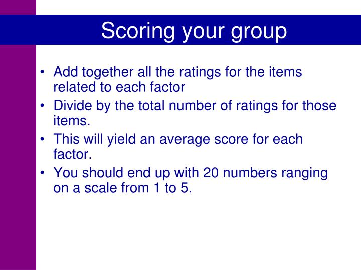 Scoring your group