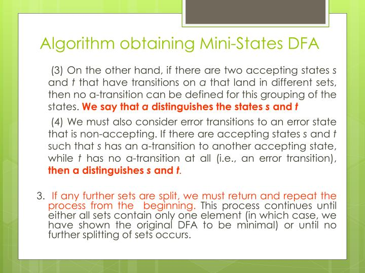Algorithm obtaining Mini-States DFA