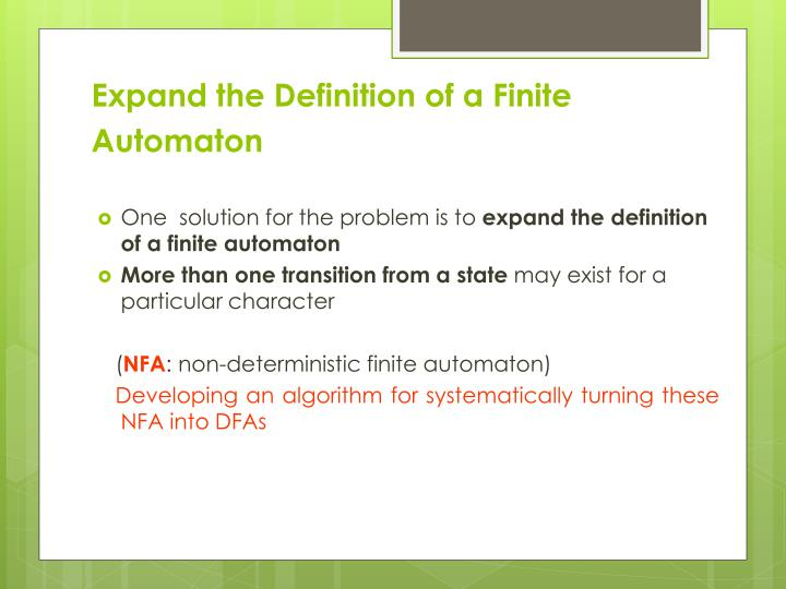Expand the Definition of a Finite Automaton