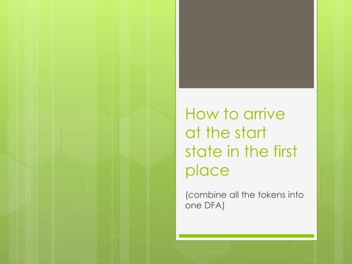 How to arrive at the start state in the first place