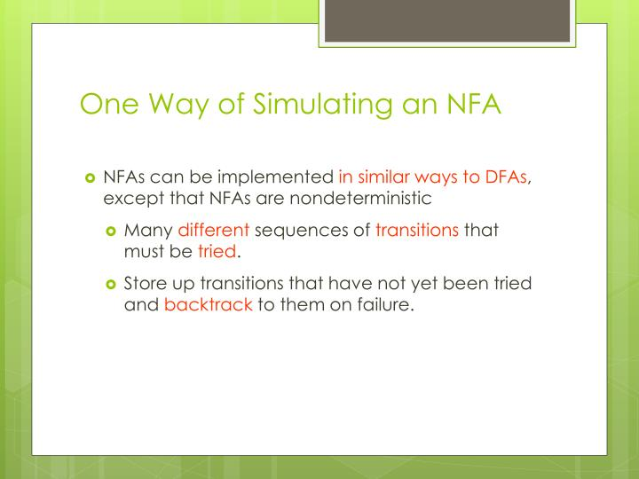 One Way of Simulating an NFA