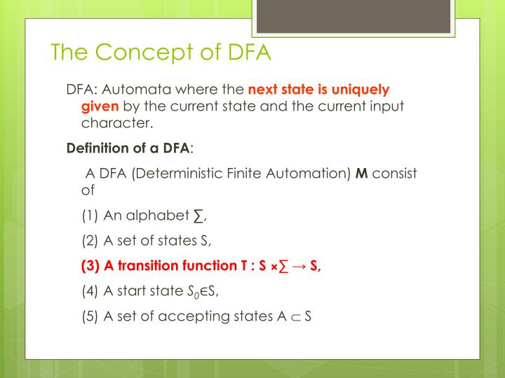 The Concept of DFA
