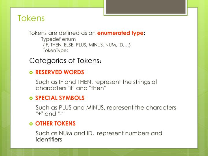 Tokens are defined as an