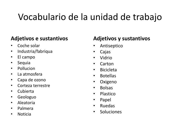 Vocabulario de la unidad de trabajo