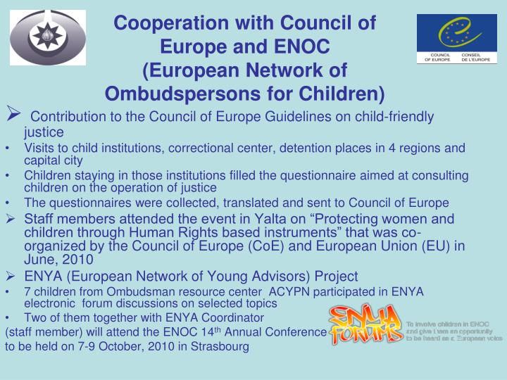 Cooperation with Council of Europe and