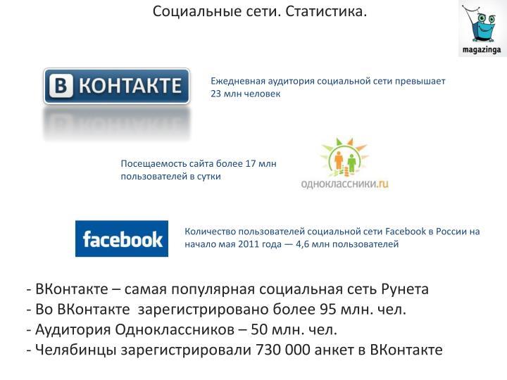 Социальные сети. Статистика.