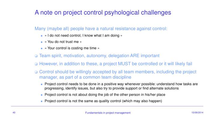 A note on project control