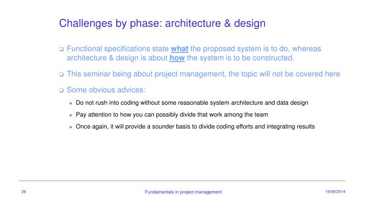 Challenges by phase: architecture & design