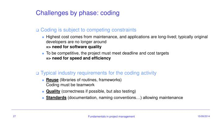 Challenges by phase: