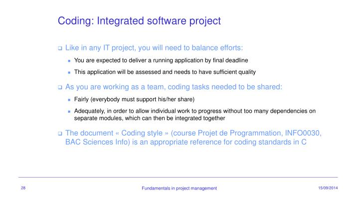 Coding: Integrated software project