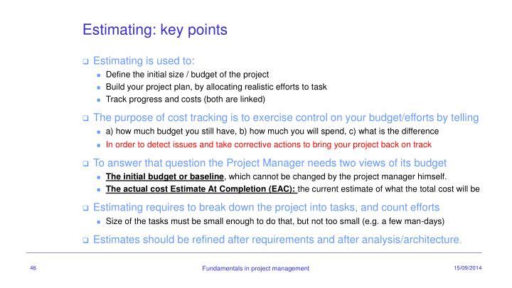 Estimating: key points