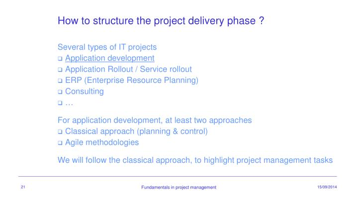 How to structure the project delivery phase ?