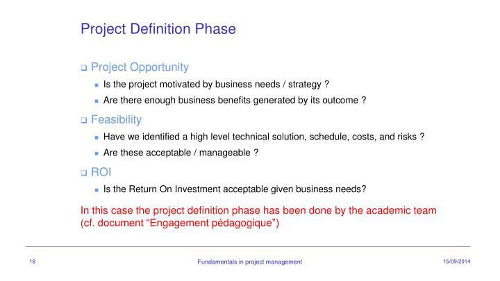 Project Definition Phase