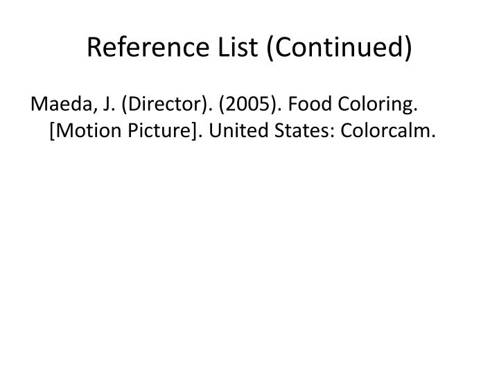 Reference List (Continued)