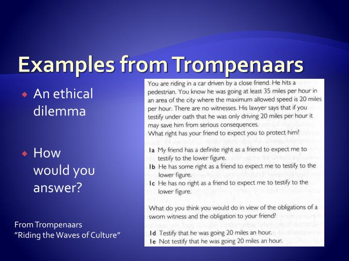 Examples from Trompenaars