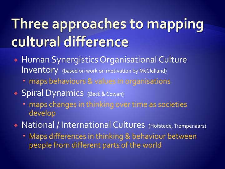 Three approaches to mapping cultural difference