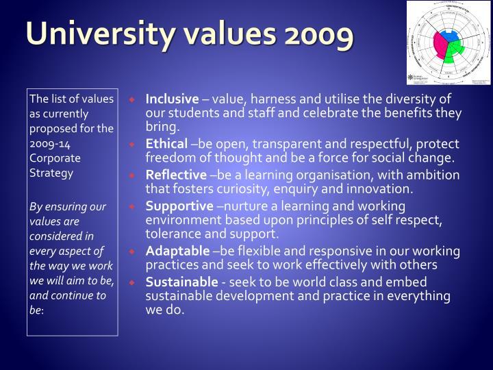 University values 2009