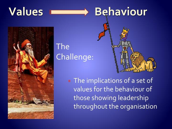 Values                     Behaviour