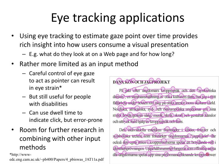Eye tracking applications