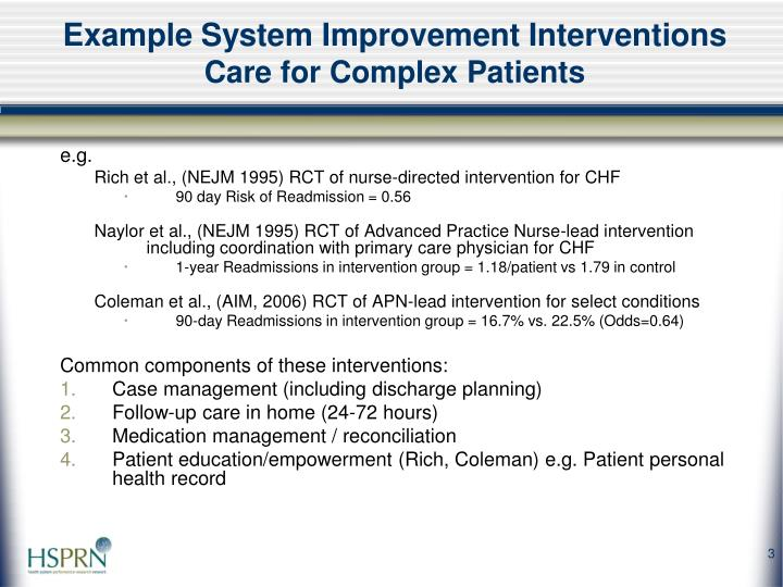 Example system improvement interventions care for complex patients