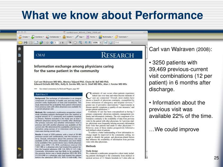 What we know about Performance