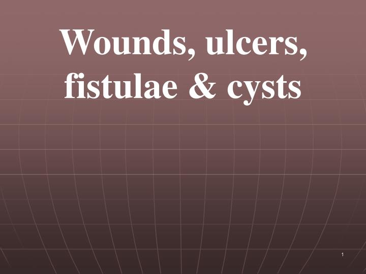 Wounds, ulcers, fistulae & cysts