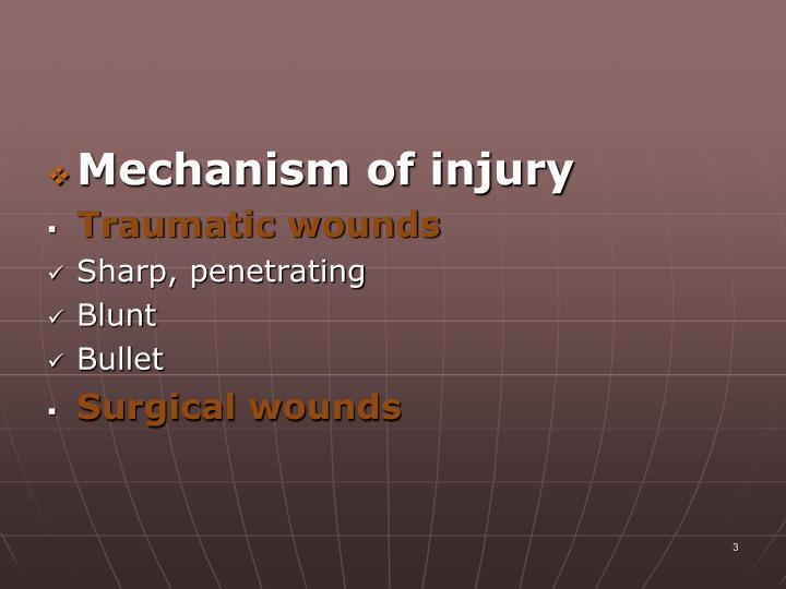 Mechanism of injury