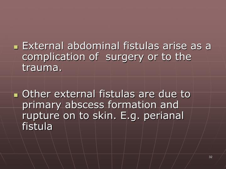 External abdominal fistulas arise as a complication of  surgery or to the trauma.