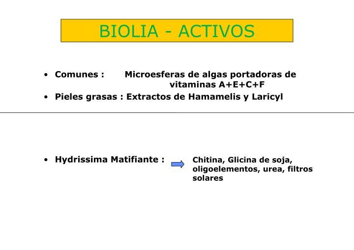BIOLIA - ACTIVOS