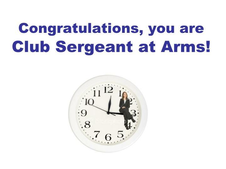 Congratulations, you are