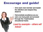 encourage and guide