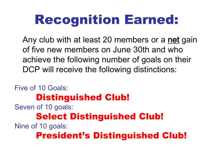 Recognition Earned: