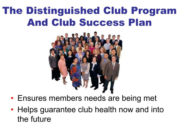 The Distinguished Club Program And Club Success Plan