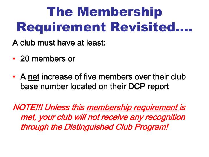 The Membership Requirement Revisited….