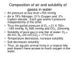 composition of air and solubility of gases in water
