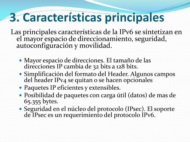 3.Características principales