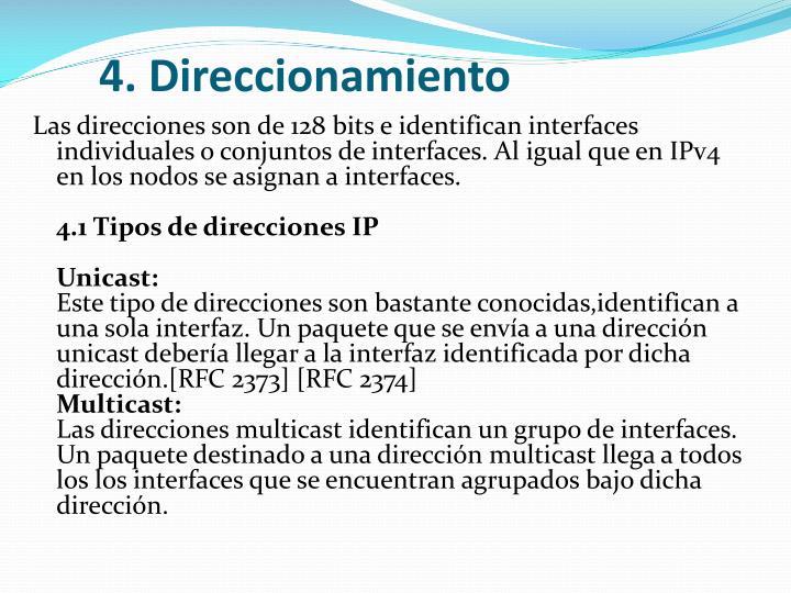 4. Direccionamiento