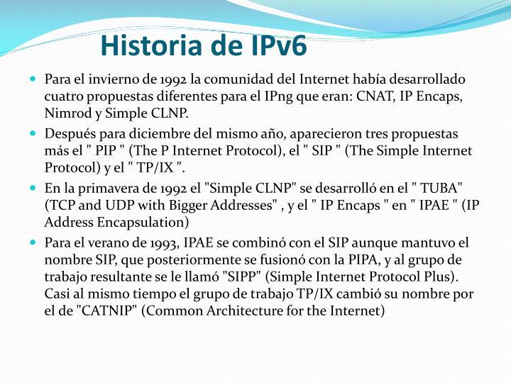 Historia de IPv6