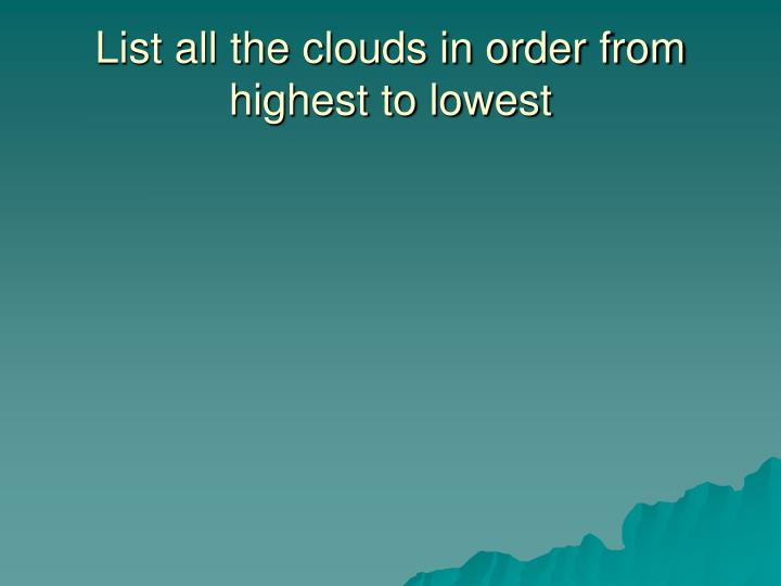 List all the clouds in order from highest to lowest