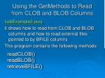 using the getmethods to read from clob and blob columns7
