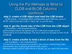 using the put methods to write to clob and blob columns continue4