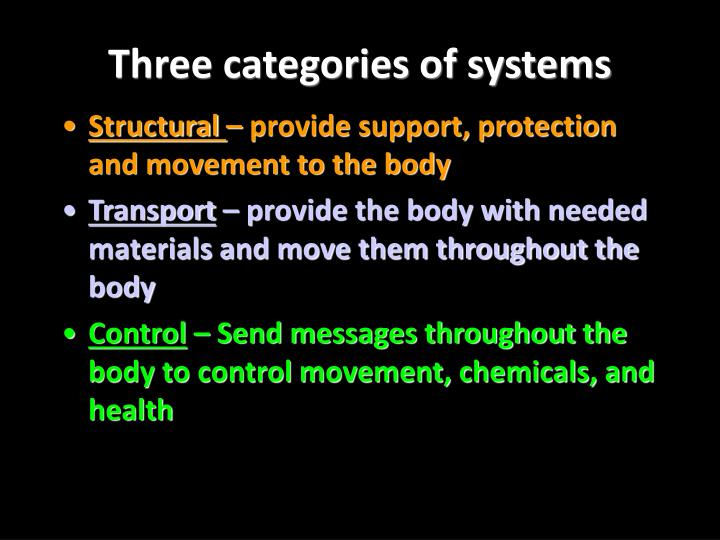 Three categories of systems