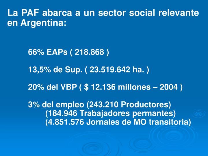 La PAF abarca a un sector social relevante en Argentina:
