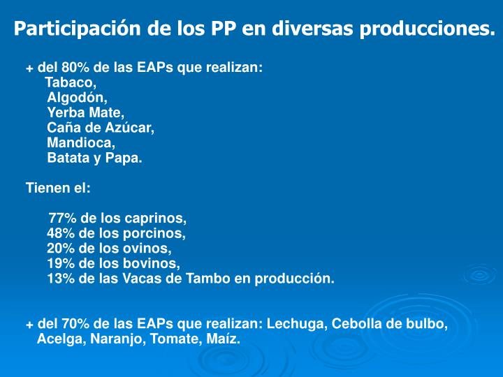 Participación de los PP en diversas producciones.