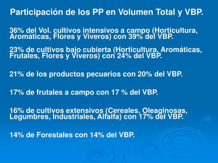 Participación de los PP en Volumen Total y VBP.