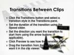 transitions between clips