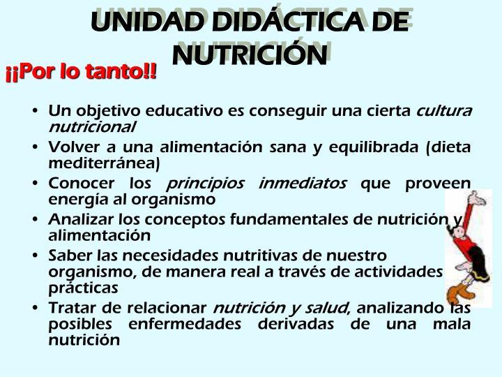 UNIDAD DIDÁCTICA DE NUTRICIÓN